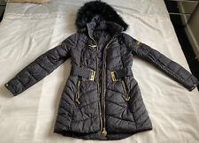Ladies Long Puffa Designer Barbour Winter Coat,black With Gold Zip Belt Size 8