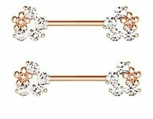 A Pair of Rose Gold Glistening Flower Sparkle Nipple Barbell