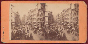Original Stereoview Photo Naples Italy Soledo Street 1890s Venice C. P.