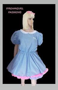 Unisex adult gingham school girl dress Fancy dress sissy lolita cosplay