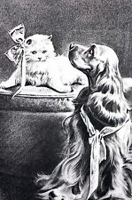 Morgan Dennis 1946 Cocker Spaniel and White Kitten Cat Vintage Matted Dog Print