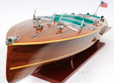 "Chris Craft Triple Cockpit Speed Boat Wooden Model 32"" Handcrafted Varnished"
