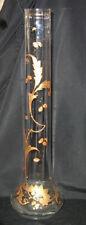 "ROCOCO GLASS VASE 15"" BACCARAT Legras St-Denis GOLD GILT ENAMELED HP GOLD"