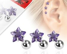 Job Lot Surgical Steel Cartilage Tragus Labret Bar Stud with Purple Star Gems x3