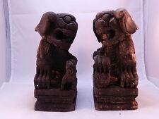A403 China Löwe Tiger Holz Kampferholz FengShui Figur Glueckbringer ein paar