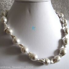 "18"" 13-15mm White Plating Nuclear Freshwater Pearl Necklace"