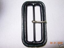 Leather covered METAL BUCKLE LOT  Surplus sew trims  With/Tonque  Dark Navy 12p