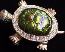 GOLD RHINESTONE GREEN RED SLIDER BOX LAND TURTLE TORTOISE PIN BROOCH JEWELRY