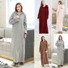 Womens Long Soft Home Robes Casual Oversized Hooded Loungewear Sleepwear Pajama