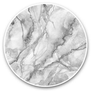 2 x Vinyl Stickers 30cm (bw) - Grey White Gold Marble Effect Pattern  #43767