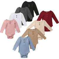 Toddler Baby Kids Girls Boys Long Sleeve Solid Romper Bodysuit Casual Clothes AU