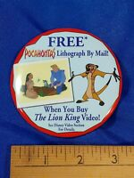 Disney Pin Pocahontas Lion King PINBACK VIDEO VTG VHS PROMO STORE Disney 90s