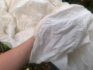 8-Sided White Square Military Parachute Cloth Size 5.7 x 5.7m