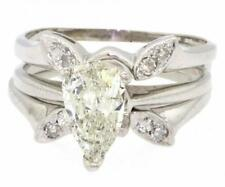 $9975 Diamond Engagement Ring Wedding Set 1.13CTW PEAR SOLITAIRE 14K White Gold