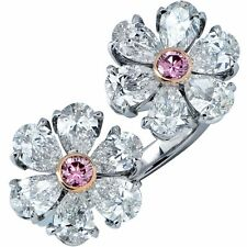 GIA Certified Pink & White Diamond Platinum Bypass Between The Finger Ring