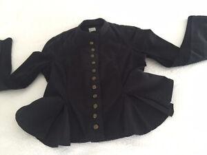 Sass and Bide Black Denim Military Style Peplum Jacket Sz 10