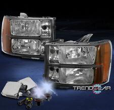 2007-2013 GMC SIERRA 2500 3500 HD DENALI CRYSTAL HEADLIGHT AMBER BLACK W/8K HID