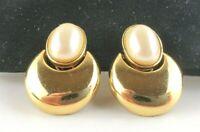 Monet Clip On Earrings Faux Pearl Dangle Gold Tone Hoop Drop Signed Vintage