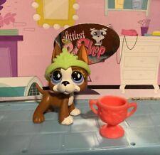 Littlest Pet Shop~Great Dane~Puppy Dog #588 Brown Blue Diamond Eyes Lps Auth