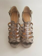 Womens Dorothy Perkins Shoe high wedge sandal size 6 silver cork strappy vgc