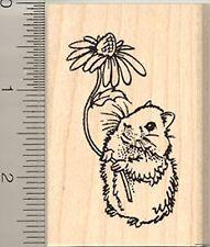 CUTE Teddy Bear Hamster w/ Flower Rubber Stamp WM H8219