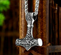 Heavy Viking Vikings Thor Hammer Men's Mens Long Silver Stainless Steel Necklace
