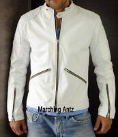 New Soft White Lambskin Motorcycle biker Genuine Leather Jacket Cafe Racer WLZP