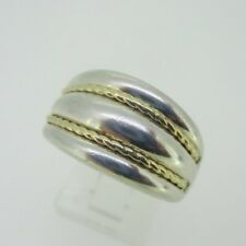 Accent Dome Band Ring Size 8 Sterling Silver & 14K Yellow Gold