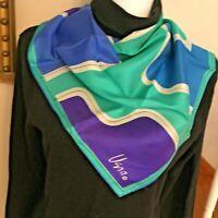 "Vintage VERA SCARF Blue Green Purple Abstract Print 23"" square 60% Rayon 40%Silk"