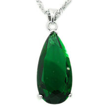 Xmas Jewelry 25Mm Green Emerald Silver Tone Pendant Necklace Lady For Dress