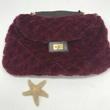 Big Buddah Faux Fur Quilted Raspberry Chain Strap Purse Handbag