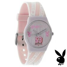 RARE NEW Playboy Watch Ladies Quartz Stainless Steel Women Pink Silver White Box