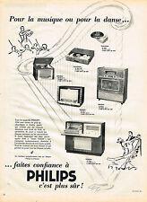PUBLICITE ADVERTISING 094  1953  PHILIPS  radiophone tourne-disque