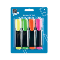 4 x HIGHLIGHTER PENS FLUORESCENT OFFICE SCHOOL NEON MARKER PENS PACK SET