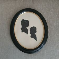 Vintage Oval Framed Silhouette Little Girls Black Gold