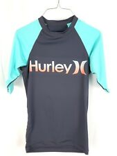 HURLEY Mens Size Medium Gray Light Blue Surf Shirt Rashguard UPF 40 Spellout