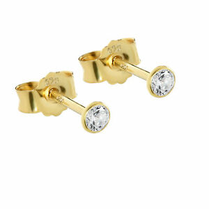 1 Paar Ohrstecker 925 Sterling Silber Gelbgold Vergoldet Zirkonia Ohrringe