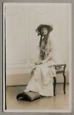 Edwardian Postcard - Beautifully dressed attractive young lady, hat, ringlets
