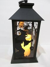 Halloween LED Light Witch Black Metal Lantern Candle With Timer Decoration Decor