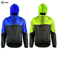 Cycling Rain Jacket Heavy Duty Waterproof Hooded Thermal Fleece Coat Hi-Viz