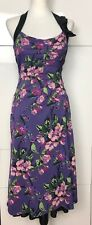 Karen Millen Purple Floral Dress Size UK 14 EU 42 Very Good Condition
