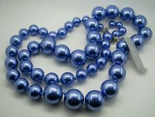 Graduated Beaded Necklace Beads Shimmer New Guess Brand Faux Pearls Blue/Purple