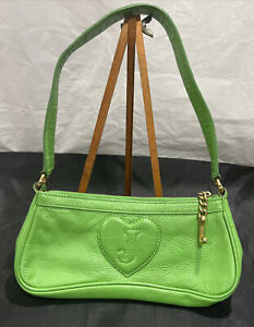 JUICY COUTURE Purse Green Shoulder Bag Small Genuine Leather with Charms 👜