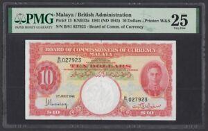 Malaya 10 Dollars 1941 1945 (Pick 13) PMG-25