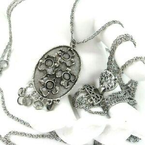 Goldette Brutalist Pendant Necklace Modernist Openwork Crosses Gray Briolettes