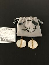 Lucas Jack 18k Gold Plated Earings Gold Tone Mother Of Pearl