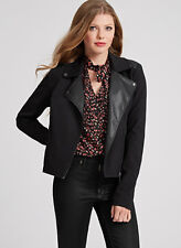 NWT GUESS $158 Lizaveta Wool & Faux Leather Jacket Coat Black XS 1 2 3