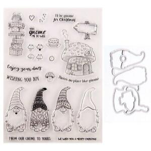 Santa Gnome Siegel Stempel +Schneideisen Stencil Set Scrapbooking Embossing