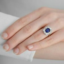 2.2ct cushion blue sapphire engagement princess diana ring 14k white gold over