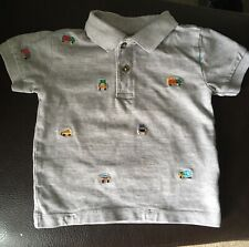 Next Baby Polo Shirt Brodé voitures camions 9-12 mois excellent état